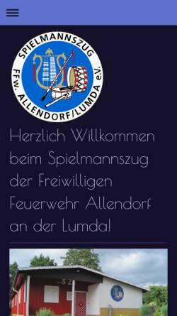 Vorschau der mobilen Webseite www.szallendorf.de, Spielmannszug der Freiwilligen Feuerwehr der Stadt Allendorf/Lumda. e.V.