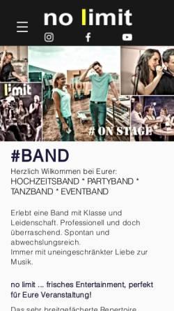 Vorschau der mobilen Webseite www.nolimit-tanzband.de, no limit