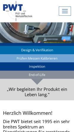 Vorschau der mobilen Webseite www.pwt-gmbh.de, Prüf- und Werkstofftechnik GmbH