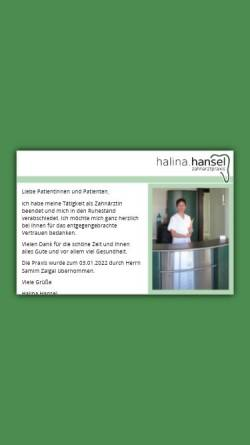 Vorschau der mobilen Webseite www.halinahansel.de, Zahnarztpraxis Halina Hansel