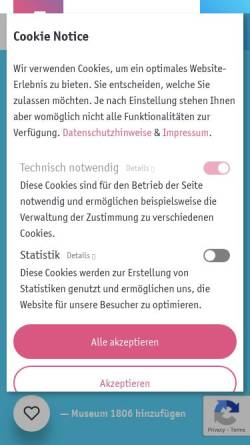 Vorschau der mobilen Webseite www.jena1806.de, Museum 1806 - Institut und Museum