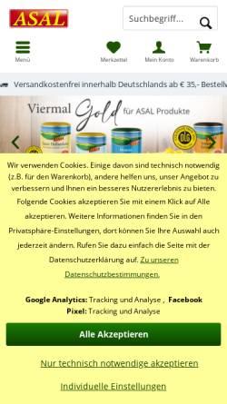 Vorschau der mobilen Webseite www.asal-nahrungsmittel.de, Asal und Co GmbH