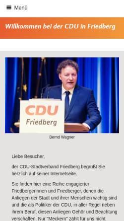 Vorschau der mobilen Webseite www.cdu-friedberg.de, CDU-Stadtverband Friedberg