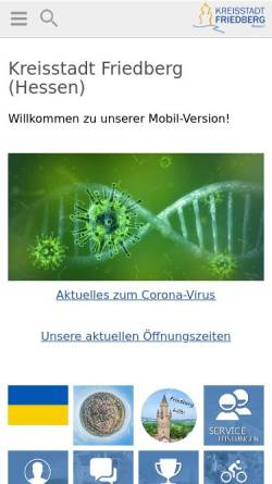 Vorschau der mobilen Webseite www.friedberg-hessen.de, Stadt Friedberg