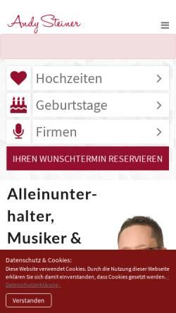 Vorschau der mobilen Webseite andy-steiner.de, Steiner, Andy - Alleinunterhalter und Musikduo