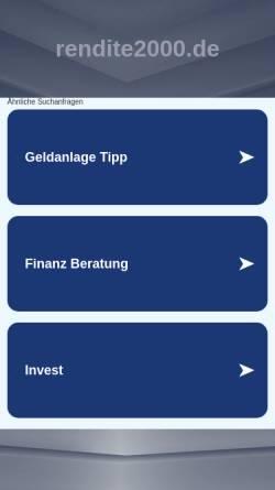 Vorschau der mobilen Webseite www.rendite2000.de, Rendite2000 AG