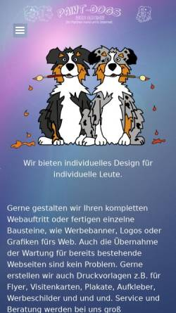 Vorschau der mobilen Webseite www.paint-dogs.de, Paint-Dogs