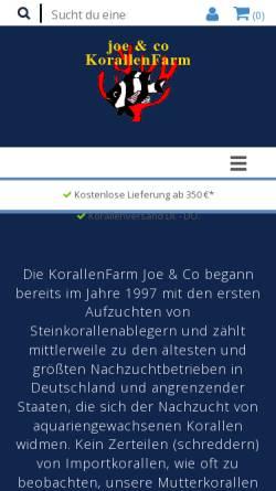 Vorschau der mobilen Webseite www.korallenfarm.de, Joe's KorallenFarmpage
