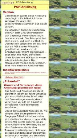 Vorschau der mobilen Webseite einklich.net, PGP-Anleitung