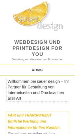 Vorschau der mobilen Webseite www.sauerdesign-4u.de, Sauer Design