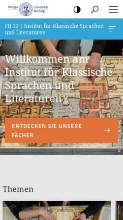 Vorschau der mobilen Webseite www.uni-marburg.de, Fachbereich Vergleichende Sprachwissenschaft an der Philipps-Universität Marburg