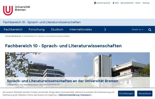 Vorschau von www.fb10.uni-bremen.de, Sprach- und Literaturwissenschaften and der Universität Bremen