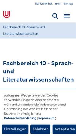 Vorschau der mobilen Webseite www.fb10.uni-bremen.de, Sprach- und Literaturwissenschaften and der Universität Bremen