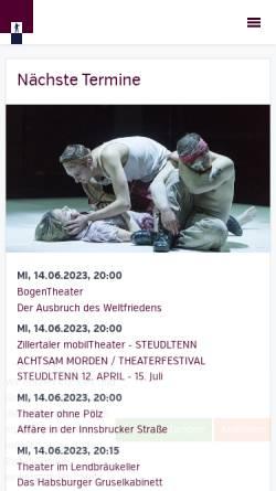 Vorschau der mobilen Webseite www.theaterverbandtirol.at, Theater Verband Tirol