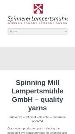 Vorschau der mobilen Webseite www.lampertsmuehle.de, Spinnerei Lampertsmühle AG