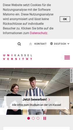 Vorschau der mobilen Webseite www.uni-kassel.de, Universität Kassel - GeoInformation