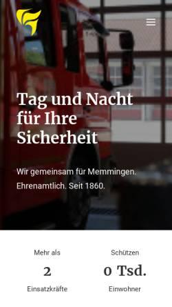 Vorschau der mobilen Webseite www.feuerwehr-memmingen.de, Freiwillige Feuerwehr Memmingen
