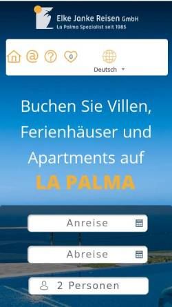 Vorschau der mobilen Webseite www.janke-reisen.de, Elke Janke Reisen GmbH