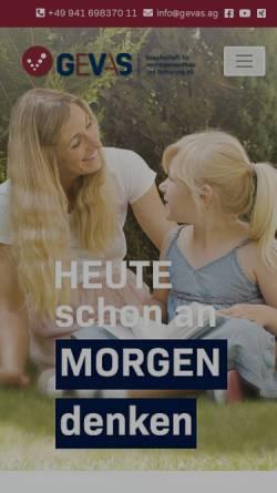 Vorschau der mobilen Webseite www.gevas.ag, GeVaS Gesellschaft für Vermögensaufbau und Sicherung AG