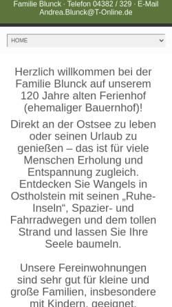 Vorschau der mobilen Webseite blunck-wangels.de, Bauernhof Blunck