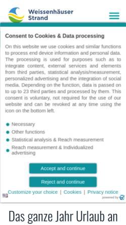 Vorschau der mobilen Webseite weissenhaeuserstrand.de, Ostseebad Weissenhäuser Strand