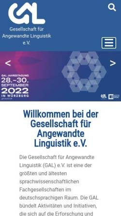 Vorschau der mobilen Webseite www.gal-ev.de, Gesellschaft für Angewandte Linguistik (GAL)