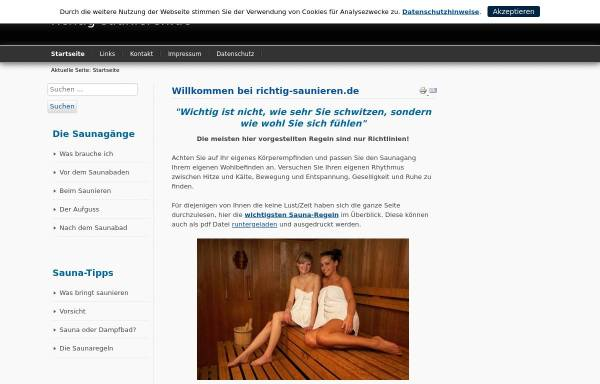 Vorschau von www.richtig-saunieren.de, Richtig Saunieren