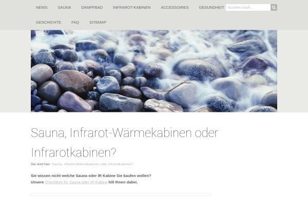 Vorschau von www.sauna-infrarot.com, Sauna und Infrarot Wärmekabinen
