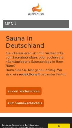 Vorschau der mobilen Webseite www.saunatester.de, Saunatester