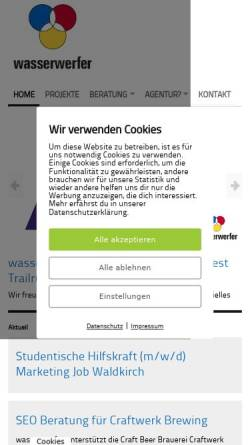 Vorschau der mobilen Webseite www.wasserwerfer.de, Wasserwerfer