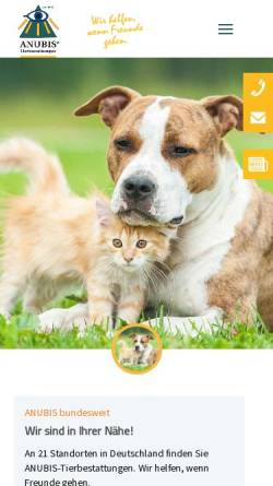 Vorschau der mobilen Webseite www.anubis-tierbestattung.de, Anubis-Tierbestattung