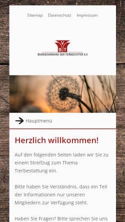 Vorschau der mobilen Webseite www.tierbestatter-bundesverband.de, Bundesverband der Tierbestatter e.V.