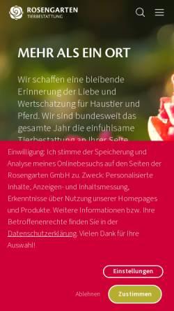 Vorschau der mobilen Webseite www.kleintierkrematorium.de, Kleintierkrematorium Im Rosengarten GmbH