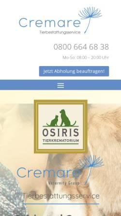Vorschau der mobilen Webseite www.osiris-tierbestattungen.de, Osiris Tierbestattung GmbH