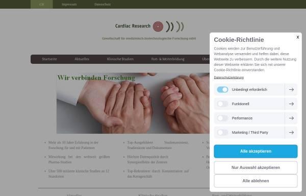 Vorschau von www.cardiacresearch.de, Cardiac Research Gesellschaft für medizinisch-biotechnologische Forschung mbH