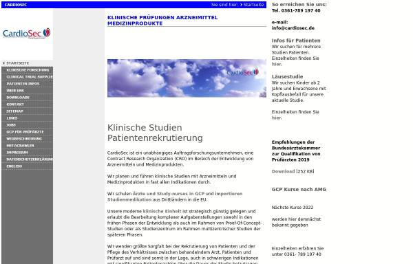 Vorschau von www.cardiosec.de, CardioSec Clinical Research GmbH