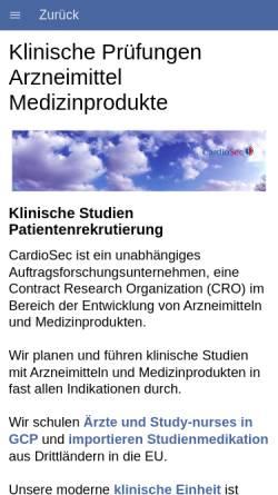 Vorschau der mobilen Webseite www.cardiosec.de, CardioSec Clinical Research GmbH