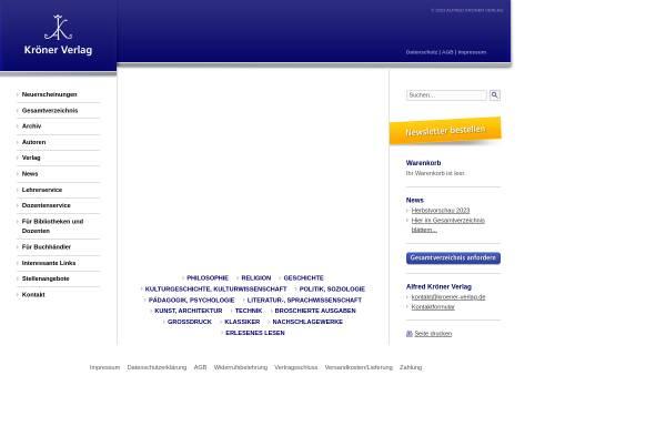 Vorschau von www.kroener-verlag.de, Alfred Kröner Verlag