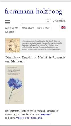 Vorschau der mobilen Webseite www.frommann-holzboog.de, Frommann Holzboog Verlag