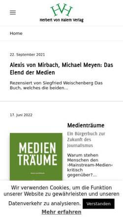 Vorschau der mobilen Webseite www.halem-verlag.de, Herbert von Halem Verlagsgesellschaft mbH & Co KG