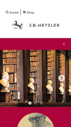 Vorschau der mobilen Webseite www.metzlerverlag.de, J.B. Metzler'sche Verlagsbuchhandlung und C. E. Poeschel Verlag GmbH Stuttgart·Weimar