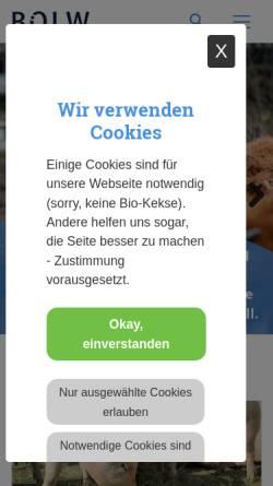 Vorschau der mobilen Webseite www.boelw.de, Bund Ökologische Lebensmittelwirtschaft