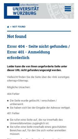 Vorschau der mobilen Webseite www-organik.chemie.uni-wuerzburg.de, Stoff- und tätigkeitsbezogene Betriebsanweisungen - Universität Würzburg