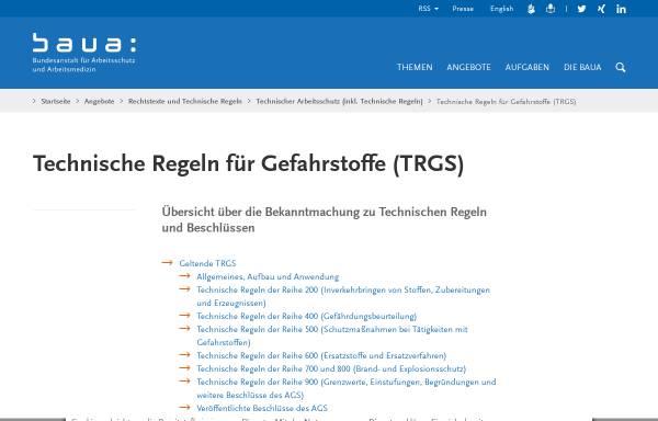 Vorschau von www.baua.de, Technische Regeln für Gefahrstoffe (TRGS)