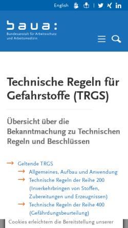 Vorschau der mobilen Webseite www.baua.de, Technische Regeln für Gefahrstoffe (TRGS)