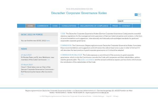 Vorschau von www.dcgk.de, Regierungskommission Deutscher Corporate Governance Kodex