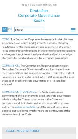 Vorschau der mobilen Webseite www.dcgk.de, Regierungskommission Deutscher Corporate Governance Kodex