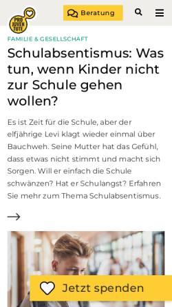 Vorschau der mobilen Webseite www.projuventute.ch, Pro Juventute