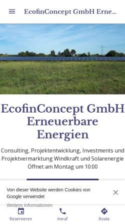 Vorschau der mobilen Webseite ecofinconcept-gmbh-erneuerbare-energien.business.site, EcofinConcept GmbH