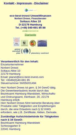 Vorschau der mobilen Webseite www.eco-best-invest.com, Norbert Drews - Finanzberater